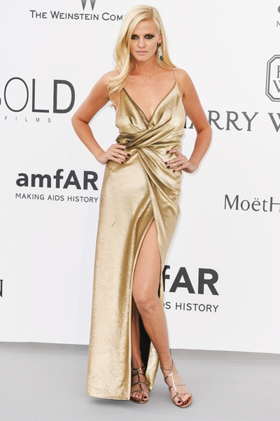 Lara Stone attends amfAR's Cinema against AIDS Gala at the Hotel du Cap-Eden-Roc during the 68th Annual Cannes Film Festival in Cannes, France. Credit: Euan Cherry/Photoshot