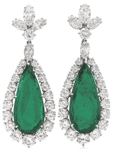 A-Pair-Of-Emerald-Diamond-Ear-Pendants-By-Bvlgari