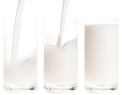 fresh milk pouring into a glass in sequence (isolated on white background)