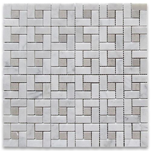 c683xp-carrara-marble-target-pinwheel-mosaic-tile-gray-dots-polished