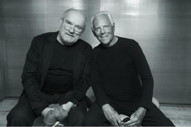 Peter Lindbergh bersama Giorgio Amani