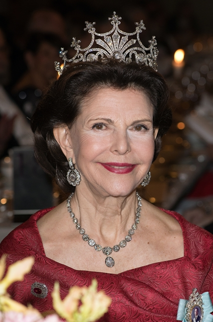 Nobel Prize Banquet 2015 at City Hall in Stockholm Featuring: Queen Silvia of Sweden Where: Stockholm, Sweden When: 10 Dec 2015 Credit: ATP/WENN.com **Not available for TV, Print in Germany. No Contact Music. Not Available in Latvia**