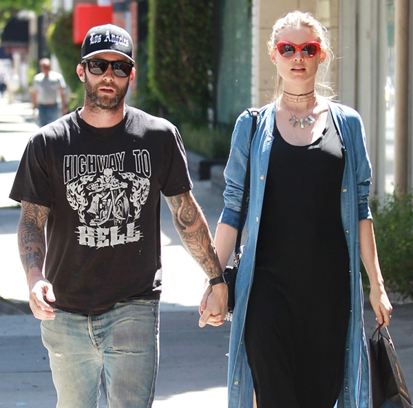 Pictured: Adam Levine, Behati Prinsloo Mandatory Credit © Bella/Broadimage Pregnant Behati Prinsloo and Adam Levine shop hand-in-hand in Beverly Hills 3/29/16, Beverly Hills, California, United States of America Broadimage Newswire Los Angeles 1+  (310) 301-1027 New York      1+  (646) 827-9134 sales@broadimage.com http://www.broadimage.com