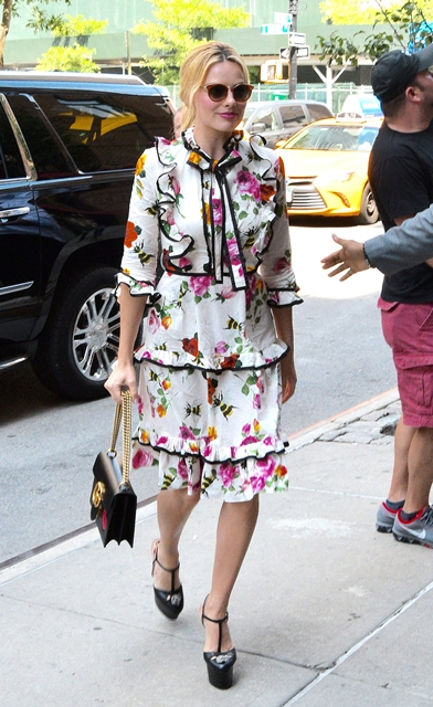 July 28, 2016 - New York, New York, United States - Actress Margot Robbie wears a floral dress as she arrives at a downtown hotel on July 28 2016 in New York City (Credit Image: © Curtis Means/Ace Pictures via ZUMA Press)