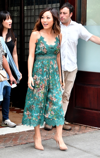 ..July 29 2016, New York City..Suicide Squad actress Karen Fukuhara weaers a green floral summer dress as she leaves a downtown hotel on Julyin New York City..By Line: Curtis Means/ACE Pictures...ACE Pictures Inc.Tel:Email: Photo via Newscom
