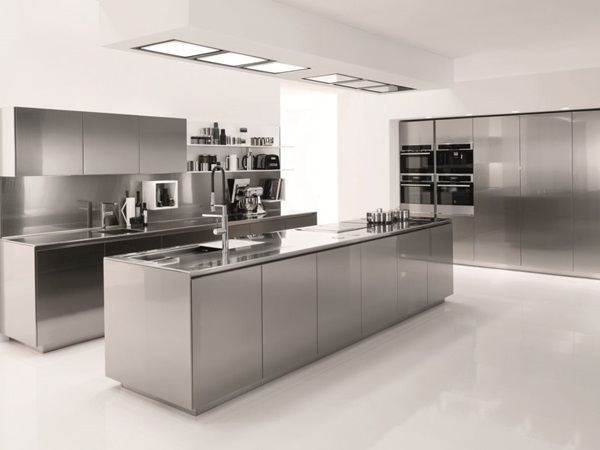 awesome-grey-white-stainless-wood-luxury-design-stainless-steel-kitchen-island-white-wall-paint-stainless-top-faucets-wall-oven-stove-at-kitchen-with
