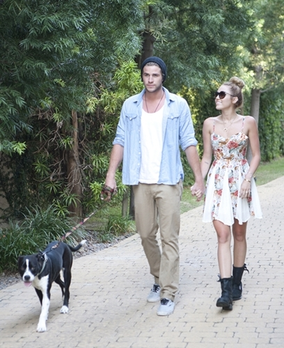 Exclusive/ NO WEB USAGE, Los Angeles, CA, - 06/05/2012 - Miley Cyrus and Liam Hemsworth Announce their Engagement. THIS IMAGE IS TO BE PUBLISHED ONLY UPON APPROVAL FROM STARTRAKS PHOTO OR IF YOU ARE AN APPROVED CLIENT OF STARTRAKS PHOTO. IT MUST BE CONNECTED AND ATTACHED ONLY TO POSITIVE STORIES, ARTICLES, HEADLINES OR CAPTIONS. CONTACT STARTRAKS PHOTO FOR CLEARENCE AND APPROVAL OTHERWISE -PICTURED: Miley Cyrus and Liam Hemsworth -PHOTO BY: Edward Furst/startraksphoto.com -CSv130706.JPG Startraks Photo New York, NY For licensing please call 212-414-9464 or email sales@startraksphoto.com