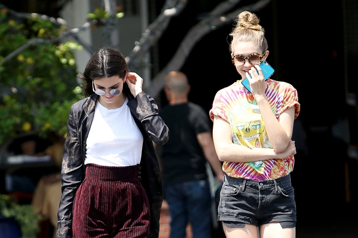 WEST HOLLYWOOD, CA - JUNE 1: Kendall Jenner and Gigi Hadid seen in West Hollywood, California on June 1, 2016. Credit: John Misa/MediaPunch Credit: MediaPunch/face to face