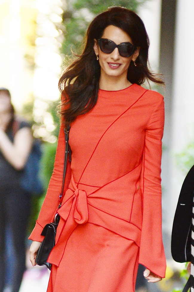 .September 22, 2016 New York City..Amal Clooney was seen wearing a red dress in Midtown Manhattan in New York City on September 22, 2016...Credit: Kristin Callahan/ACE Pictures..tel:Email: .. Photo via Newscom