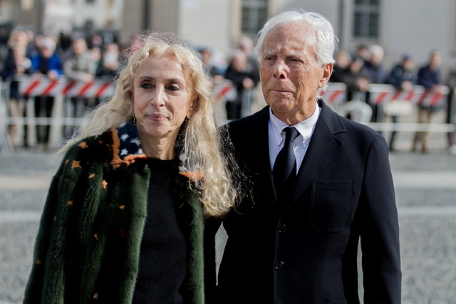 Franca Sozzani (L) , Giorgio Armani (R) arrive in Milan to open Milan Fashion Weekan, on 24th February. (Photo by Mattia Gravili/NurPhoto) *** Please Use Credit from Credit Field ***