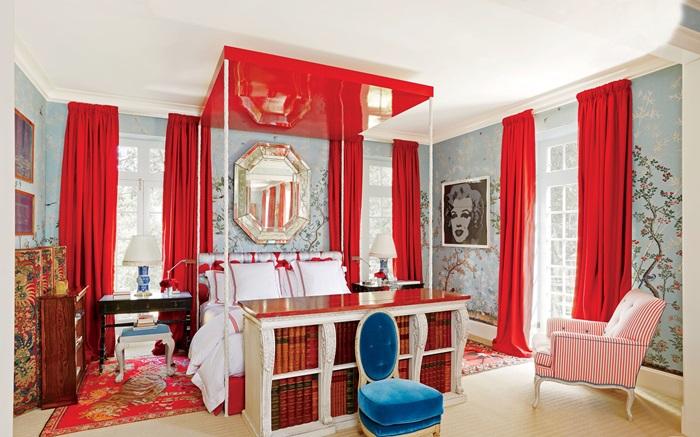 Langsir Daripada Oscar De La A Menggunakan Fabrik Wul Lee Jofa Kertas Dinding Bercorak Hutan Whimsical Iksel Decorative